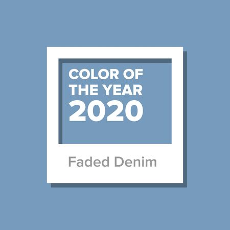 Faded Denim, Color Of The Year 2020. Color trend palette. Swatch. Vector Illustration Illustration