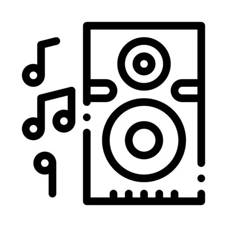 Musical Dynamic Device For Listening Songs Vector Icon Thin Line. Microphone And Dynamic, Concert And Theater, Opera And Karaoke Concept Linear Pictogram. Black And White Contour Illustration