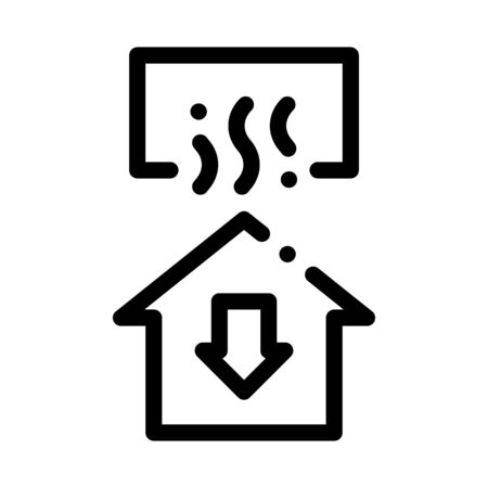 Temperature Loss House Window Arrow Down Vector Icon Thin Line. Cooling And Humidity, Airing, Ionisation And Heating Concept Linear Pictogram. Conditioning Related Monochrome Contour Illustration