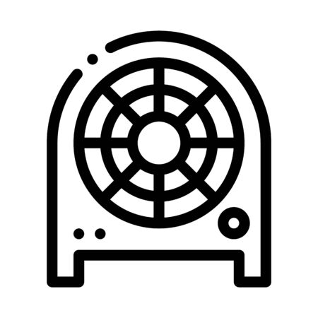 Electronic Fan Heater Heating Equipment Vector Icon Thin Line. Cool And Humidity, Airing, Ionisation And Heating Concept Linear Pictogram. Conditioning Related Monochrome Contour Illustration
