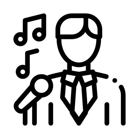 Man In Suit With Microphone Singing Recital Vector Icon Thin Line. Microphone And Dynamic, Concert And Theater, Opera And Karaoke Concept Linear Pictogram. Black And White Contour Illustration