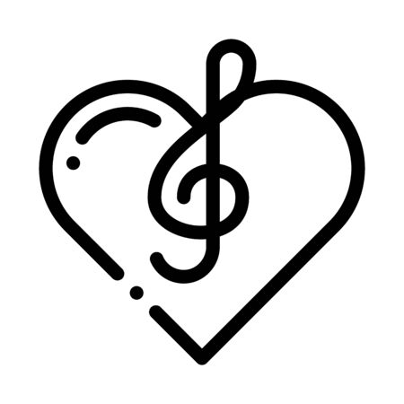 Treble Clef And Heart Song Element Vector Icon Thin Line. Treble Clef And Headphones, Concert, Opera And Singing In Karaoke Concept Linear Pictogram. Monochrome Contour Illustration Illustration