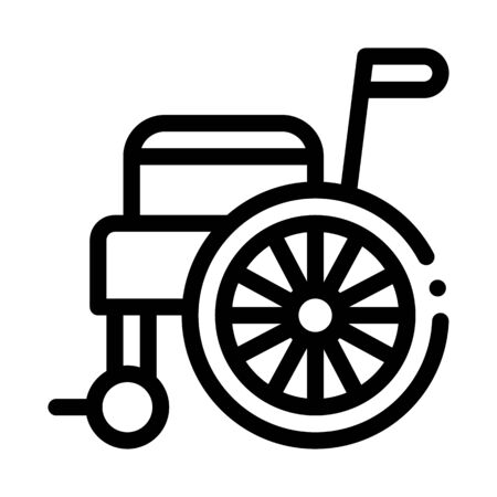 Self-Propelled Wheelchair Equipment Vector Icon Thin Line. Orthopedic And Trauma Rehabilitation, Belt And Wheelchair Concept Linear Pictogram. Medical Rehab Goods Monochrome Contour Illustration