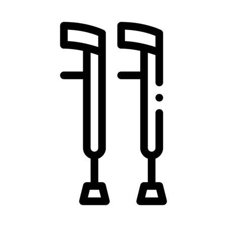Orthopedic Crutch Medical Equipment Vector Icon Thin Line. Orthopedic And Trauma Rehabilitation, Belt And Walkers Concept Linear Pictogram. Medical Rehab Goods Monochrome Contour Illustration Çizim