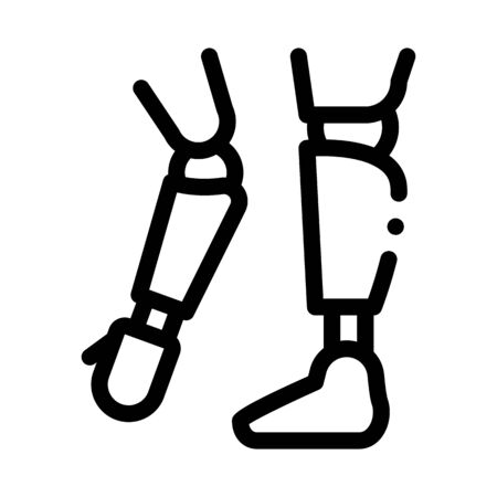 Prosthetics Of Arms And Leg Orthopedic Vector Icon Thin Line. Orthopedic And Trauma Rehabilitation, Belt And Walkers Concept Linear Pictogram. Medical Rehab Goods Monochrome Contour Illustration