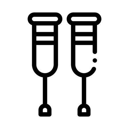 Orthopedic Crutches Walking Equipment Vector Icon Thin Line. Orthopedic And Trauma Rehabilitation, Belt And Walkers Concept Linear Pictogram. Medical Rehab Goods Monochrome Contour Illustration