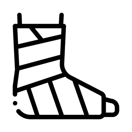 Leg Foot Gipsum Bandage Orthopedic Vector Icon Thin Line. Orthopedic And Trauma Rehabilitation, Belt And Walkers Concept Linear Pictogram. Medical Rehab Goods Monochrome Contour Illustration