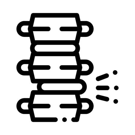 Problem Pain Spinal Column Circular Disc Vector Icon Thin Line. Orthopedic And Trauma Rehabilitation, Spinal And Walkers Concept Linear Pictogram. Medicine Rehab Goods Monochrome Contour Illustration