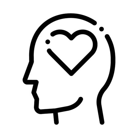 Heart Love Symbol In Man Silhouette Mind Vector Icon Thin Line. Cube And Brain, Puzzle And Shield, Padlock And Magnifier Concept Linear Pictogram. Black And White Template Contour Illustration