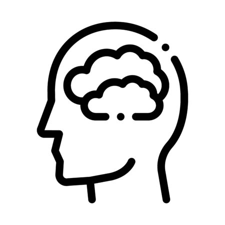 Mainly Cloudy Clouds In Man Silhouette Mind Vector Icon Thin Line. Gear And Brain, Heart And Shield, Padlock And Magnifier Concept Linear Pictogram. Black And White Template Contour Illustration  イラスト・ベクター素材