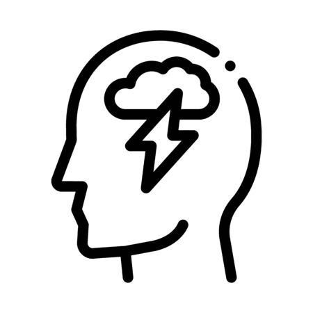 Raining Lightning Cloud In Silhouette Mind Vector Icon Thin Line. Gear And Brain, Heart And Shield, Padlock And Magnifier Concept Linear Pictogram. Black And White Template Contour Illustration  イラスト・ベクター素材