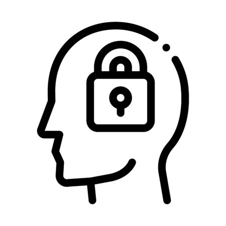 Locked Padlock In Man Silhouette Mind Vector Icon Thin Line. Gear And Brain, Heart And Shield, Padlock And Magnifier Concept Linear Pictogram. Black And White Template Contour Illustration  イラスト・ベクター素材