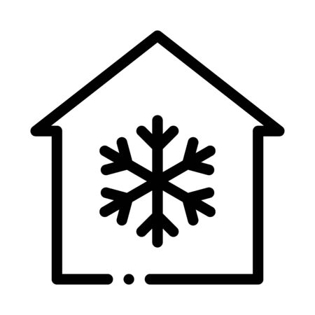 Building And Snowflake Cooling Equipment Vector Icon Thin Line. Cool And Humidity, Airing, Ionisation And Heating Concept Linear Pictogram. Conditioning Related Monochrome Contour Illustration