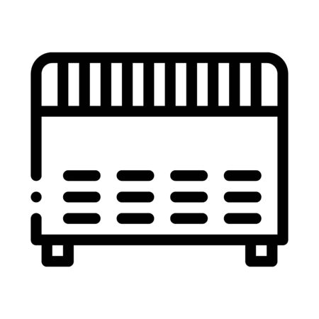 Home Electronic Heating Equipment Vector Icon Thin Line. Cool And Humidity, Airing, Ionisation And Heating Concept Linear Pictogram. Conditioning Related Monochrome Contour Illustration