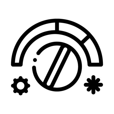 Termostat Heating And Cooling Detail Vector Icon Thin Line. Cooling And Humidity, Airing, Ionisation And Heating Concept Linear Pictogram. Conditioning Related Monochrome Contour Illustration