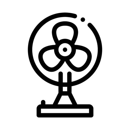 Portable Air Fan Cooling Equipment Vector Icon Thin Line. Cool And Humidity, Airing, Ionisation And Cooling Concept Linear Pictogram. Conditioning Related Monochrome Contour Illustration