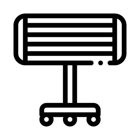 Portable Heating Device On Rollers Vector Icon Thin Line. Cool And Humidity, Airing, Ionisation And Heating Concept Linear Pictogram. Conditioning Related Monochrome Contour Illustration
