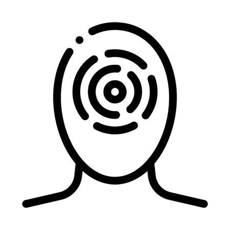 Sinusitis Brow Bone And Cheekbones Head Vector Icon Thin Line. Tension And Cluster, Migraine And Stress Symptom Concept Linear Pictogram. Human Head Healthcare Monochrome Contour Illustration Vecteurs