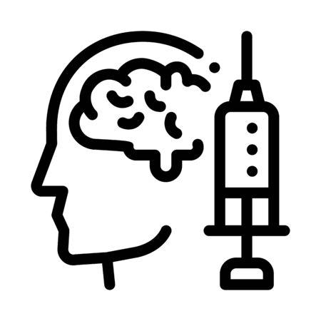 Brain Syringe Injection Vaccine Headache Vector Icon Thin Line. Tension And Cluster Headache, Migraine And Stress Symptom Concept Linear Pictogram. Healthcare Monochrome Contour Illustration