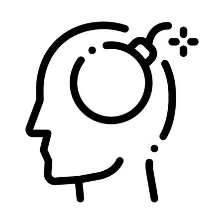 Bomb Dynamite Man Silhouette Headache Vector Icon Thin Line. Tension And Cluster Headache, Migraine And Stress Symptom Concept Linear Pictogram. Healthcare Monochrome Contour Illustration