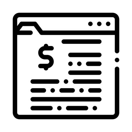 Financial Web Site With Dollar Sign Vector Icon Thin Line. Dollar Money On Smartphone Display And Magnifier, Financial Accounting Concept Linear Pictogram. Monochrome Contour Illustration