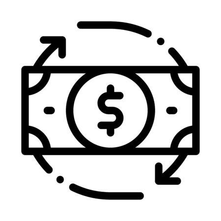 Bank Note Dollar And Around Arrows Vector Icon Thin Line. Dollar Money On Smartphone Display And Magnifier, Web Site Financial Concept Linear Pictogram. Monochrome Contour Illustration