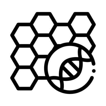 Molecular Nanobiotechnology Biomaterial Vector Icon Thin Line. Biology And Science Flasks, Bioengineering, Dna And Medicine Biomaterial Concept Linear Pictogram. Monochrome Contour Illustration