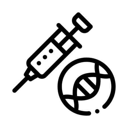 Syringe Injection Vaccine Biomaterial Vector Icon Thin Line. Biology And Science Flasks, Bioengineering, Dna And Medicine Biomaterial Concept Linear Pictogram. Monochrome Contour Illustration Imagens - 129880611