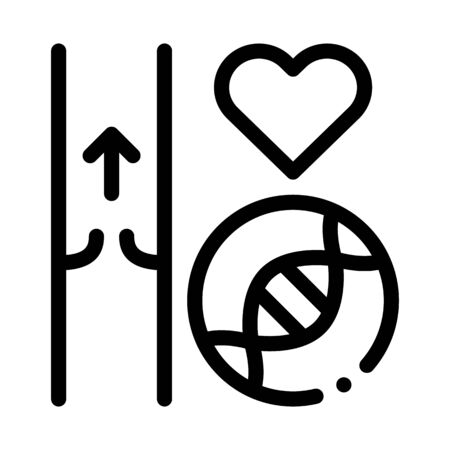 Heart Vaisseau Sanguin Biomaterial Vector Icon Thin Line. Biology And Science Flasks, Bioengineering, Dna And Medicine Vaccine Biomaterial Concept Linear Pictogram. Monochrome Contour Illustration