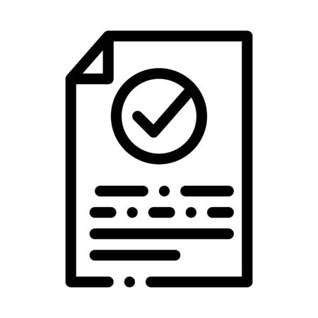 Document Text File With Approved Mark Vector Icon Thin Line. Approved Sign On Carton Box, Computer Monitor And Smartphone Display Concept Linear Pictogram. Monochrome Contour Illustration
