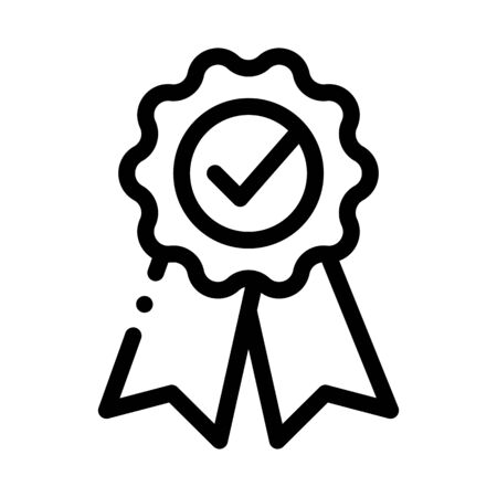 Medal Order With Ribbon Approved Mark Vector Icon Thin Line. Approved Sign On Carton Box, Computer Monitor And Smartphone Display Concept Linear Pictogram. Monochrome Contour Illustration