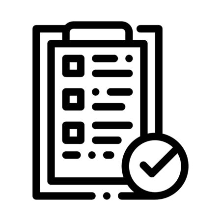 Tablet Clip With Approved Check List Vector Icon Thin Line. Approved Sign On Document File, Computer Monitor And Smartphone Display Concept Linear Pictogram. Monochrome Contour Illustration  イラスト・ベクター素材