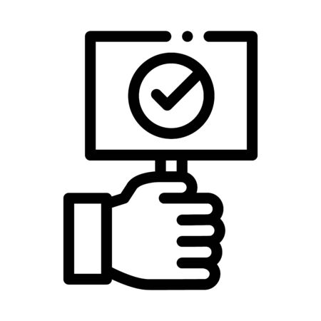 Hand Holding Tablet With Approved Mark Vector Icon Thin Line. Approved Sign On Document File, Protection Shield And Opened Carton Box Concept Linear Pictogram. Monochrome Contour Illustration