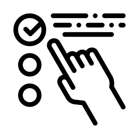 Hand Touch Check List Approved Mark Vector Icon Thin Line. Approved Sign On Document File, Protection Shield And Opened Carton Box Concept Linear Pictogram. Monochrome Contour Illustration