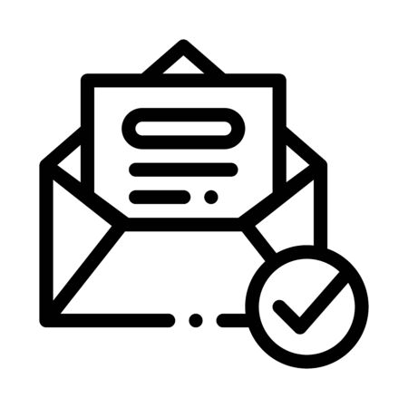 Envelope Message List And Approved Mark Vector Icon Thin Line. Approved Sign On Document File, Computer Monitor And Smartphone Display Concept Linear Pictogram. Monochrome Contour Illustration