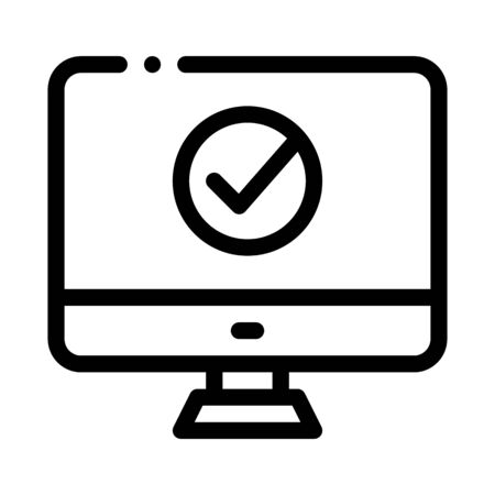 Computer Monitor And Approved Mark Vector Icon Thin Line. Approved Sign On Document File, Protection Shield And Smartphone Display Concept Linear Pictogram. Monochrome Contour Illustration