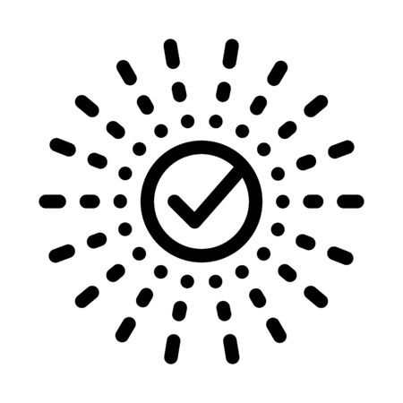 Approved Mark In Center Of Rays Element Vector Icon Thin Line. Approved Sign On Document File, Computer Monitor And Smartphone Display Concept Linear Pictogram. Monochrome Contour Illustration