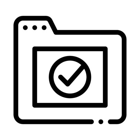 Computer Folder With Approved Mark Vector Icon Thin Line. Approved Sign On Document File And Hands, Monitor And Smartphone Display Concept Linear Pictogram. Monochrome Contour Illustration