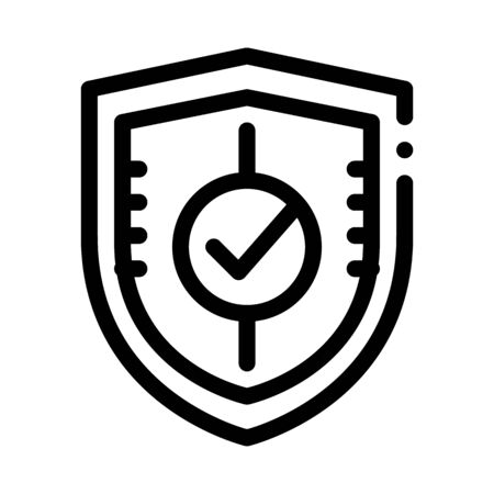 Shield Guard Protection Approved Mark Vector Icon Thin Line. Approved Sign On Document File And Hands, Computer Monitor And Smartphone Display Concept Linear Pictogram. Monochrome Contour Illustration