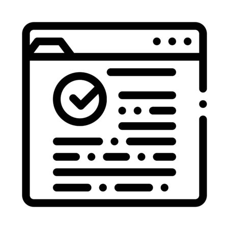 Internet Web Site With Approved Mark Vector Icon Thin Line. Approved Sign On Document File And Hands, Computer Monitor And Smartphone Display Concept Linear Pictogram. Monochrome Contour Illustration