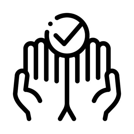 Hands Fingers Palms Up Approved Mark Vector Icon Thin Line. Approved Sign On Document File, Protection Shield And Opened Carton Box Concept Linear Pictogram. Monochrome Contour Illustration Çizim
