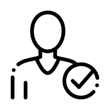 Character Silhouette Man Approved Mark Vector Icon Thin Line. Approved Sign On Document File, Protection Shield And Opened Carton Box Concept Linear Pictogram. Monochrome Contour Illustration Çizim