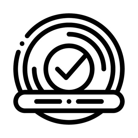 Approved Button With Text Element Vector Icon Thin Line. Approved Sign On Document File And Hands, Computer Monitor And Smartphone Display Concept Linear Pictogram. Monochrome Contour Illustration
