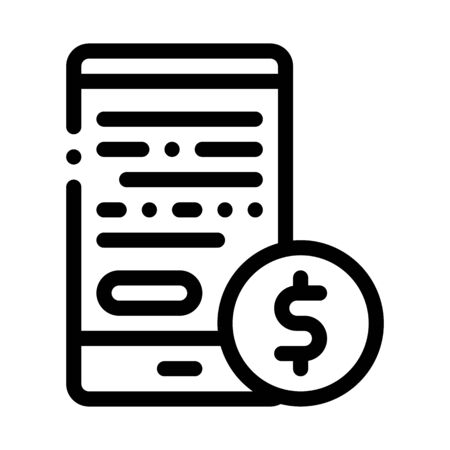 Financial Accounting On Smartphone Screen Vector Icon Thin Line. Dollar Money On Mobile Display And Magnifier, Financial Concept Linear Pictogram. Commerce Monochrome Contour Illustration