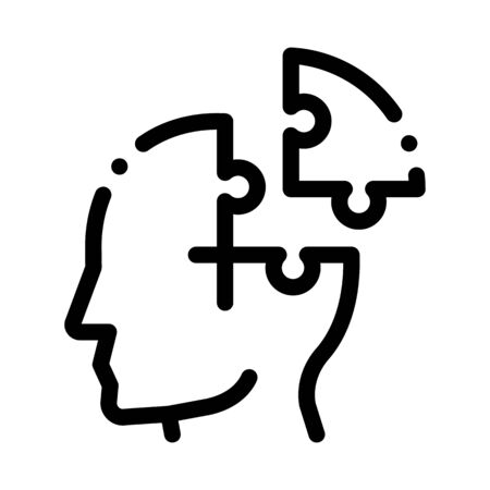 Puzzle Detail Man Silhouette Headache Vector Icon Thin Line. Tension And Cluster Headache, Migraine And Brain Symptom Concept Linear Pictogram. Head Healthcare Monochrome Contour Illustration