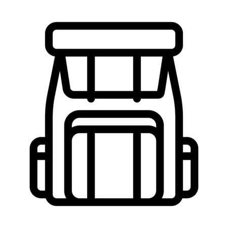 Backpack Knapsack Alpinism Equipment Vector Icon Thin Line. Compass, Mountain Direction And Burner Mountaineering Alpinism Equipment Concept Linear Pictogram. Contour Outline Illustration
