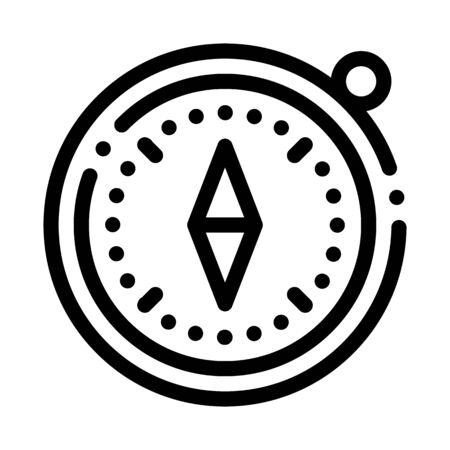 Compass Alpinism Course Detector Tool Vector Icon Thin Line. Mountain Direction And Burner Extreme Mountaineering Alpinism Equipment Concept Linear Pictogram. Contour Outline Illustration