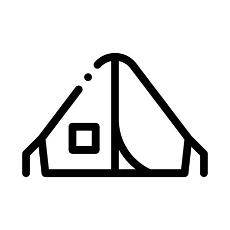 Camping Tent Alpinism Sport Equipment Vector Icon Thin Line. Compass, Mountain Direction And Burner Mountaineering Alpinism Equipment Concept Linear Pictogram. Contour Outline Illustration  イラスト・ベクター素材