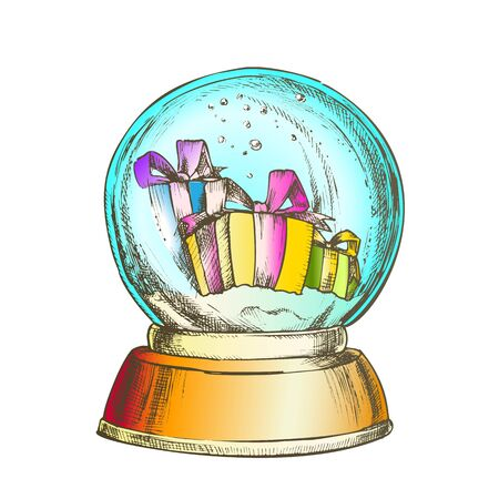 Snow Globe With Christmas Gifts Souvenir Vector. Snowy Winter And Xmas Holiday Presents In Glass Snow Ball On Blank Pedestal. Present Sphere Layout Hand Drawn In Vintage Style Color Illustration