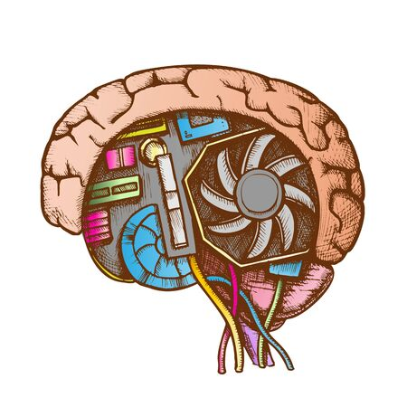 Ai Cyberntic Brain Side View Color Vector. Motherboard, Cooler And Computer Details In Form Of Human Brain. Artificial Intelligence Designed In Retro Style Illustration 向量圖像